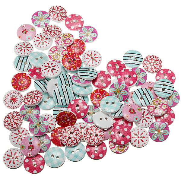 80pcs Round Wooden Buttons Craft Scrapbook Sewing