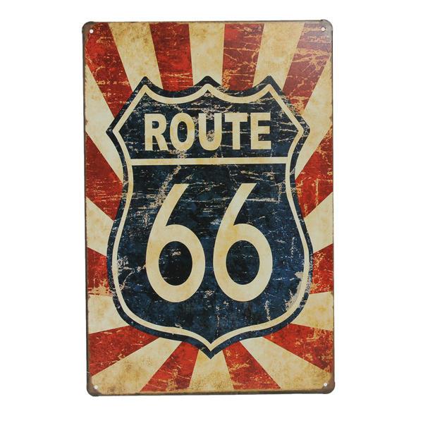 국도 66 틴 로그인 레트로 빈티지 금속 상판 바 펍 벽 장식