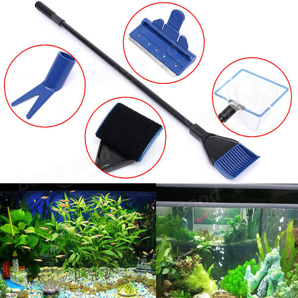 Aquarium Fish Tank Cleaning Brush 5 In 1 Fish Tank Glass Cleaning Set Cleaning Supplies