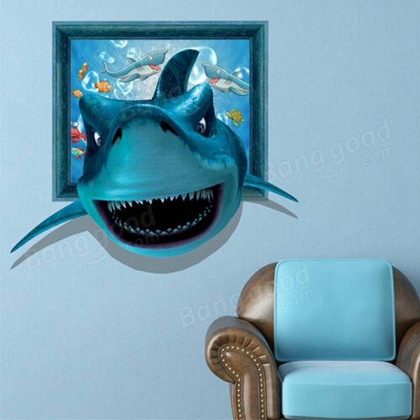 3D Shark Wall Decals Wall Art Painting Stickers 26 Inch Removable Home Decor