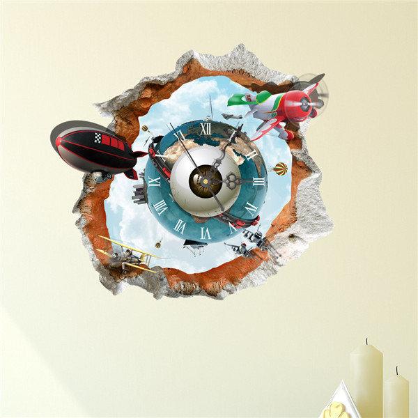 3D Wall Stickers Clock DIY Wall Decal Clock 3D Art Wall Clock  Earth Painting World Clock