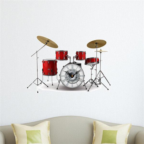 Drum Set DIY Wall Decal Clock 3D Wall Stickers Clock 3D Art Wall Clock Home Decor