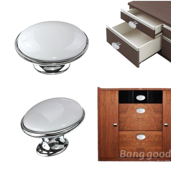 c ramique blanche bouton armoire placard cuisine tiroir de porte tirer la poign e chez banggood. Black Bedroom Furniture Sets. Home Design Ideas