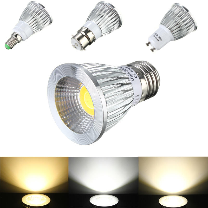 E27/GU10/E14/B22 6W COB LED Dimmable Down Light Bulbs Spot Lightt AC 85V-265V