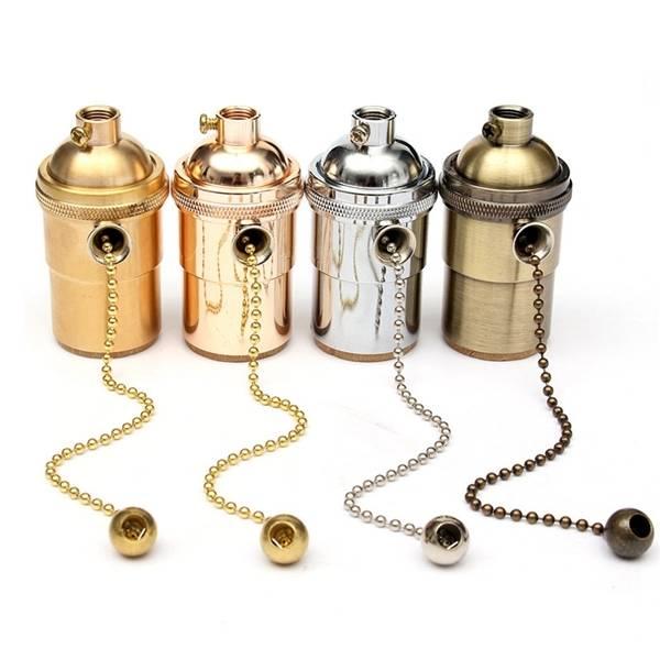 E27 Copper Socket Vintage Retro Edison Pendant Lamp Holder 110-250V
