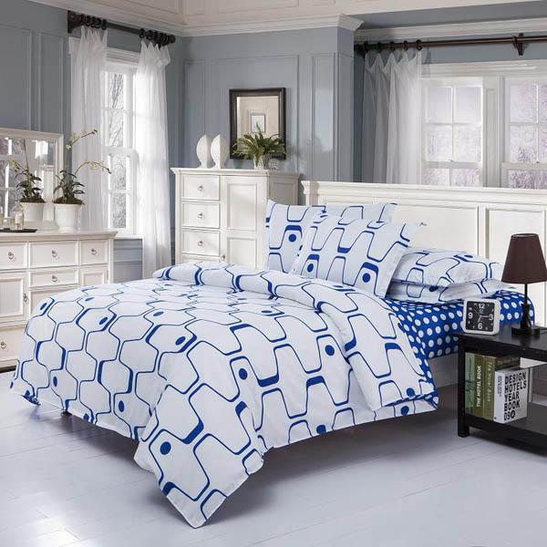 3 o 4 pezzi fibra di poliestere bianco blu labirinto stampato a doppia faccia Insiemi Usa Bedding