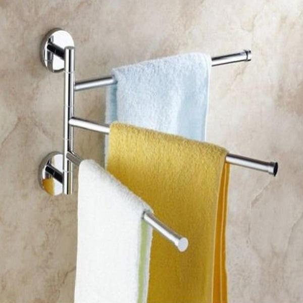 3 Arm Aluminium Towel Rack Wall Mounted Bathroom Swivel Bars Hanger