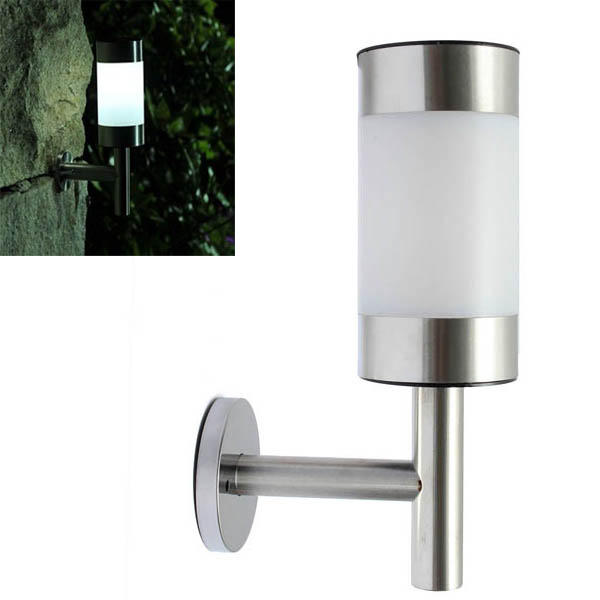 Stainless Steel Garden Solar White LED Lamp Wall Mounted Courtyard Decor  Wall Light COD