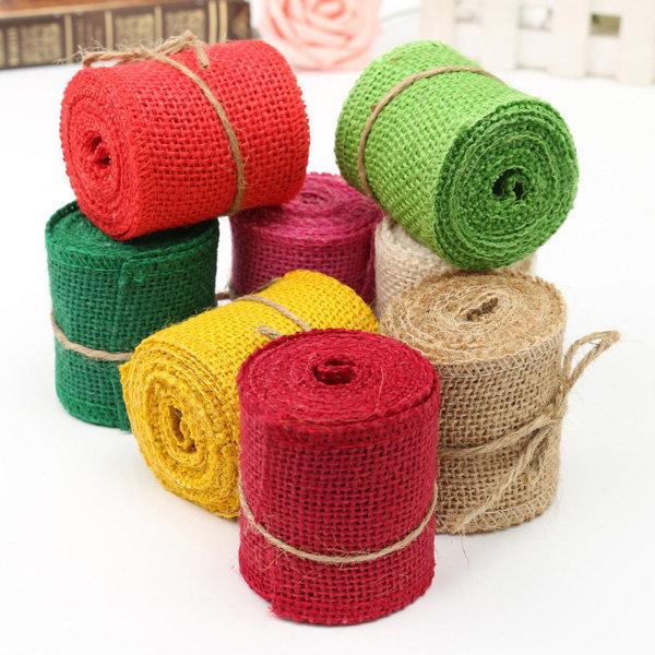 Nastro d'iuta di tela da sacchi naturale pieno di colore di iuta di 2 m che cuce la decorazione di regalo di Natale di matrimonio di mestiere