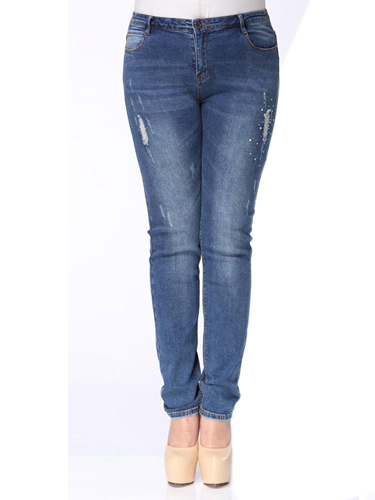 Plus Size Women Denim Ripped Skinny Jeans At Banggood Sold Out