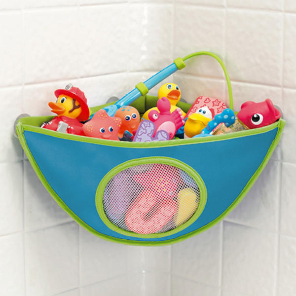 Baby Bath Toy Storage Bag Waterproof Suction Cup Triangle Pouch