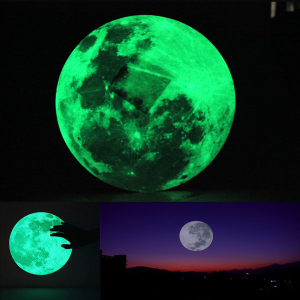 30cm large moon wall sticker removable glow in the dark sticker at