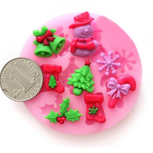 Silicone f0537 christmas cake muffa del sapone del cioccolato fondente