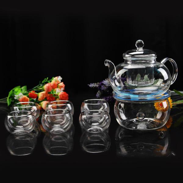 Il calore di 600 millilitri la pentola di tè di fiore resistente di vetro mette 6 tè di tazze da tè più caldo