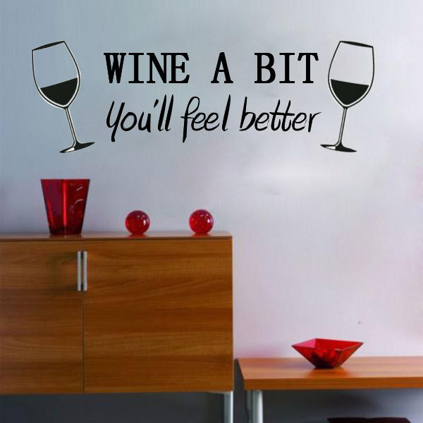 diy wine a bit wall sticker removable room kitchen decor - us$3.69