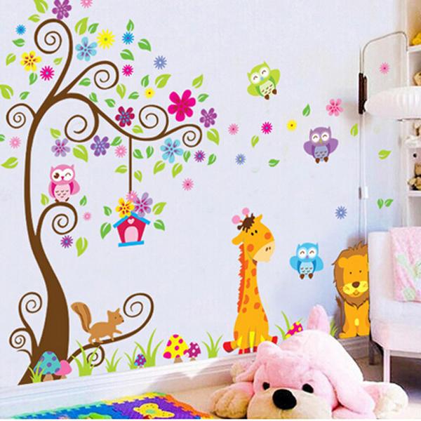 búho del árbol león pegatinas de pared papel tapiz removible niños ...
