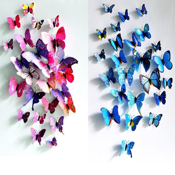 12pcs 3d Butterfly Wall Sticker Fridge Magnet Home Decor Art