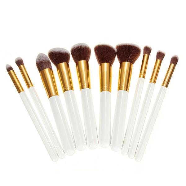 10Pcs White Makeup Foundation เครื่องมือ เครื่องสำอางค์แปรงแต่งหน้า ชุด