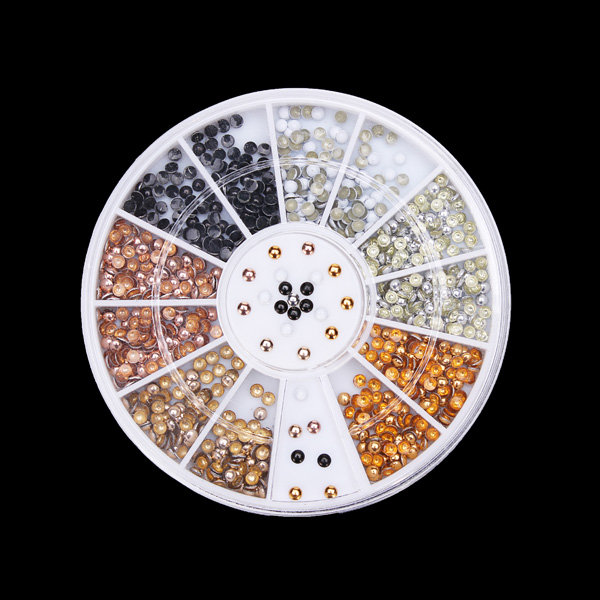 2mm 6 Colors Round Alloy Nail Art Decoration Wheel