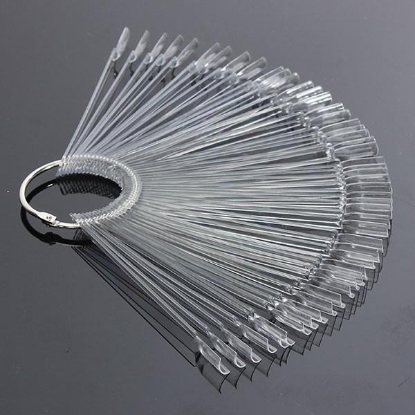 50PCS Transparant Afneembaar Nail Display Tool Vouwbare Fan Board