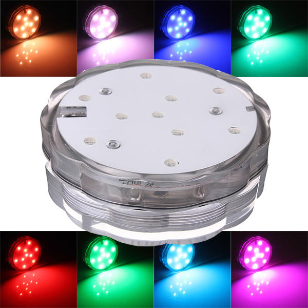 10 LED โคมไฟใต้น้ำกันน้ำที่มีสีสันสวยงามพร้อมด้วย รีโมทคอนโทรล