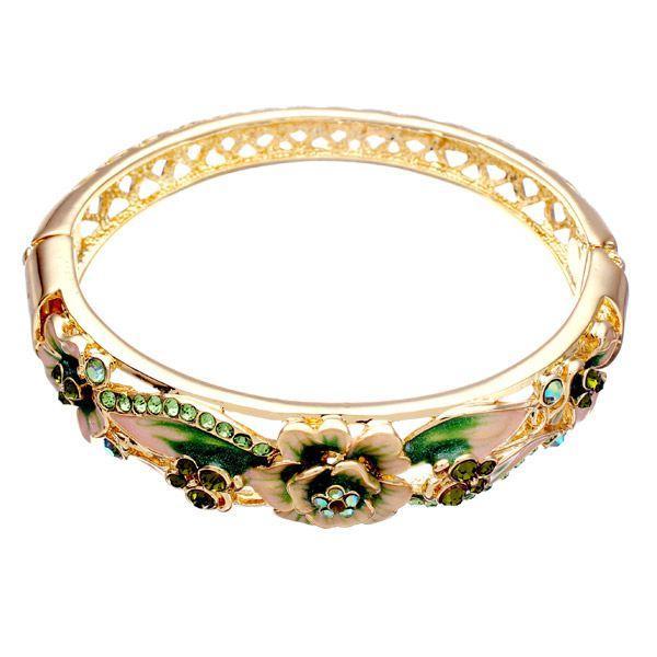 a2ec7f81000c Retro 18K chapado en oro Rhinestone pulseras elegante mariposa flores brazalete  pulsera para Mujer
