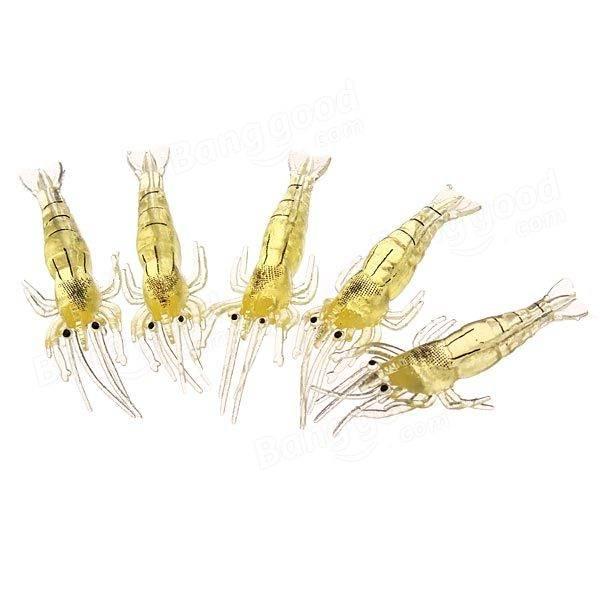 30pcs olor a pescado camarones gambas suave bajo de la pesca señuelo de la pesca