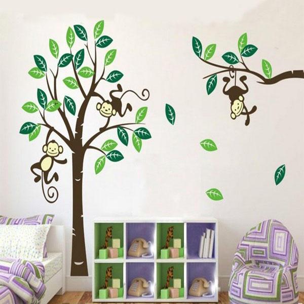Singe sur l\'art de l\'arbre amovible stickers muraux chambre de bébé ...