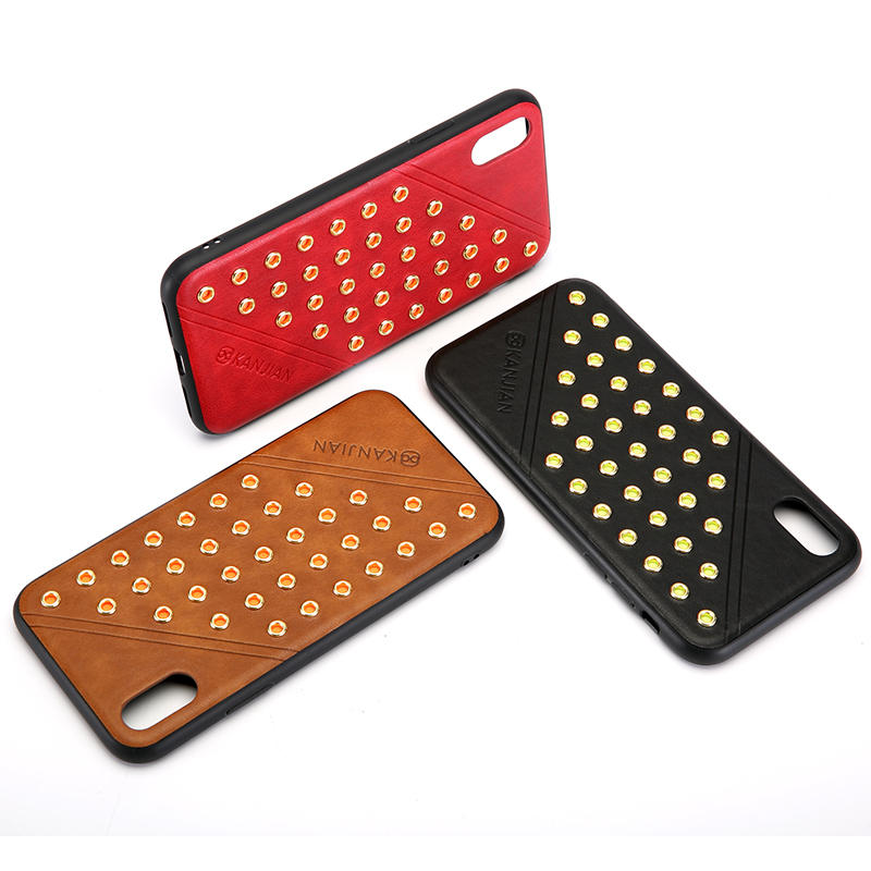 Rivet Design Shockproof Anti-skid PU Leather Protective Case For iPhone X