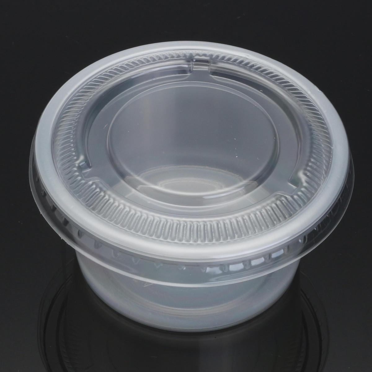 100pcs 150ml clair en plastique jetable soupe alimentaire sauce tasses emporter récipient avec couvercle