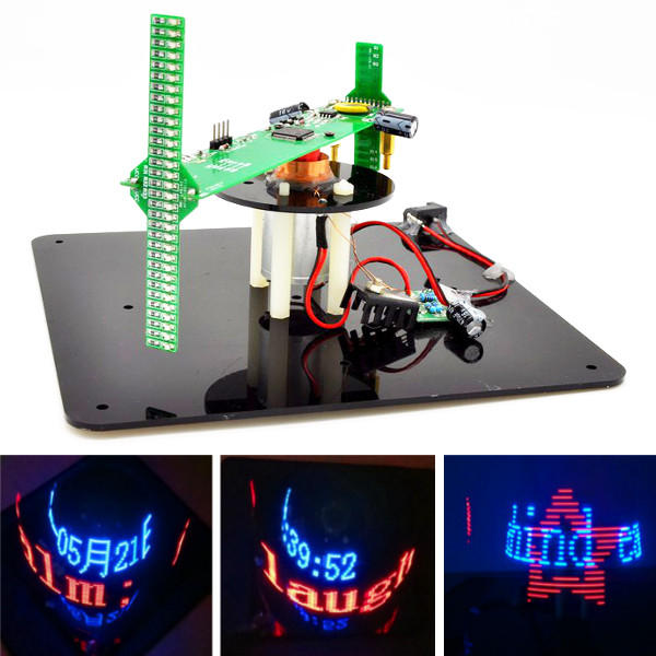 Geekcreit® DIY Biaxial 3D Rotating LED Kit POV Creative Soldering Training Kit