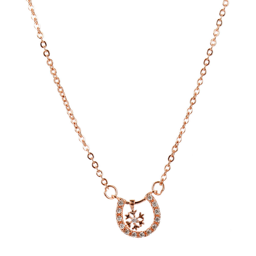 JASSY® Classic Rose Gold Necklace Trendy Geometric Snowflake Pendant Delicate Chain Necklace