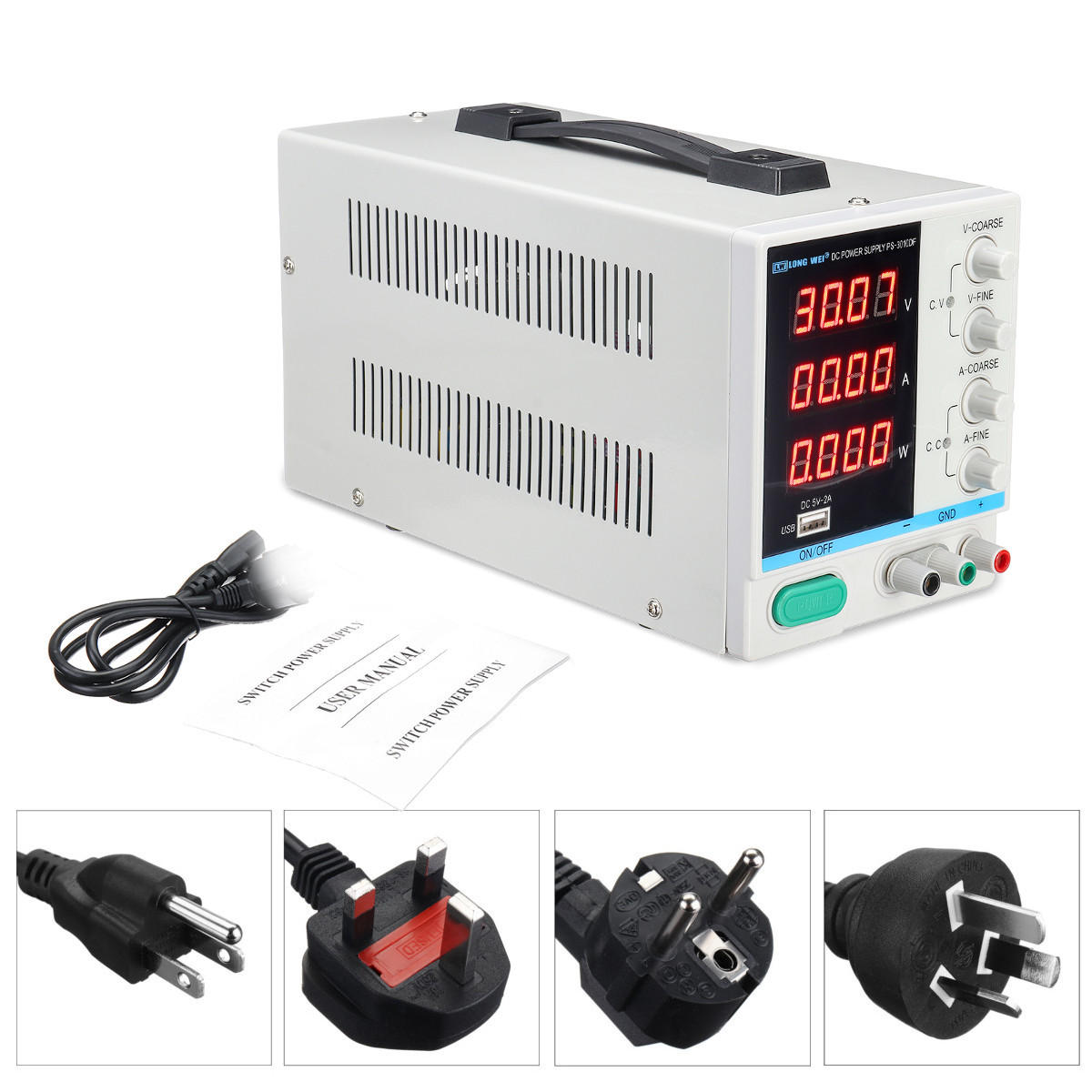 LONG WEI PS-3010DF 110V / 220V DC Fuente de alimentación 30V 10A Precisión Variable LED Laboratorio digital ajustable W / USB