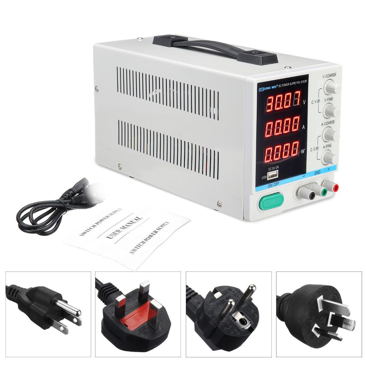 LONG WEI PS-3010DF 110V/220V DC Power Supply 30V 10A Precision Variable LED Digital Lab Adjustable W/ USB