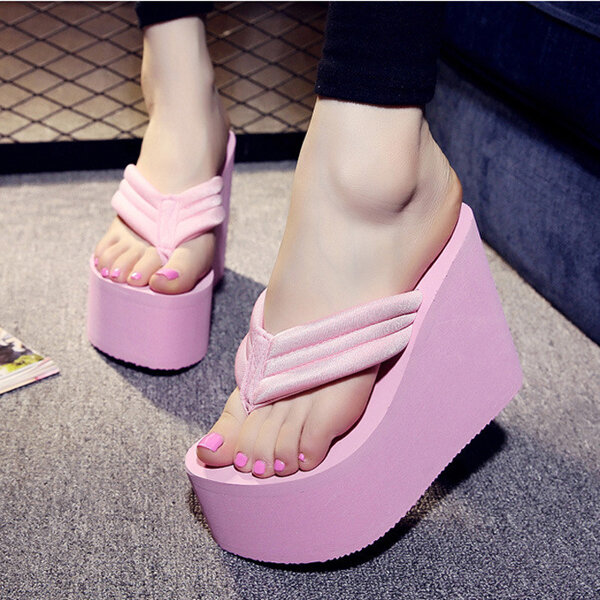 2e1ec9b71 women sexy high heels flip flops slippers wedge platform beach shoes ...