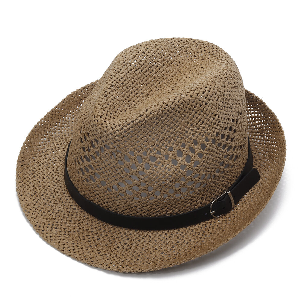 Men Women Personalized Handmade Straw Jazz Hat Outdoor Travel Beach Breathable  Mesh Hollow Sun Cap COD fe627d138888