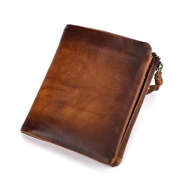 Men Oil Wax Genuine Leather Vintage Double Coins Bag Wallet