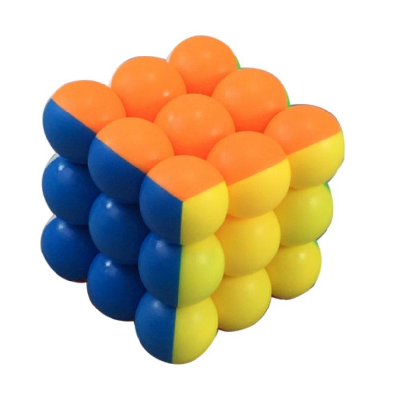Classic Round Ball Magic Cube Toys 3x3x3 PVC Sticker Block Puzzle Speed Cube