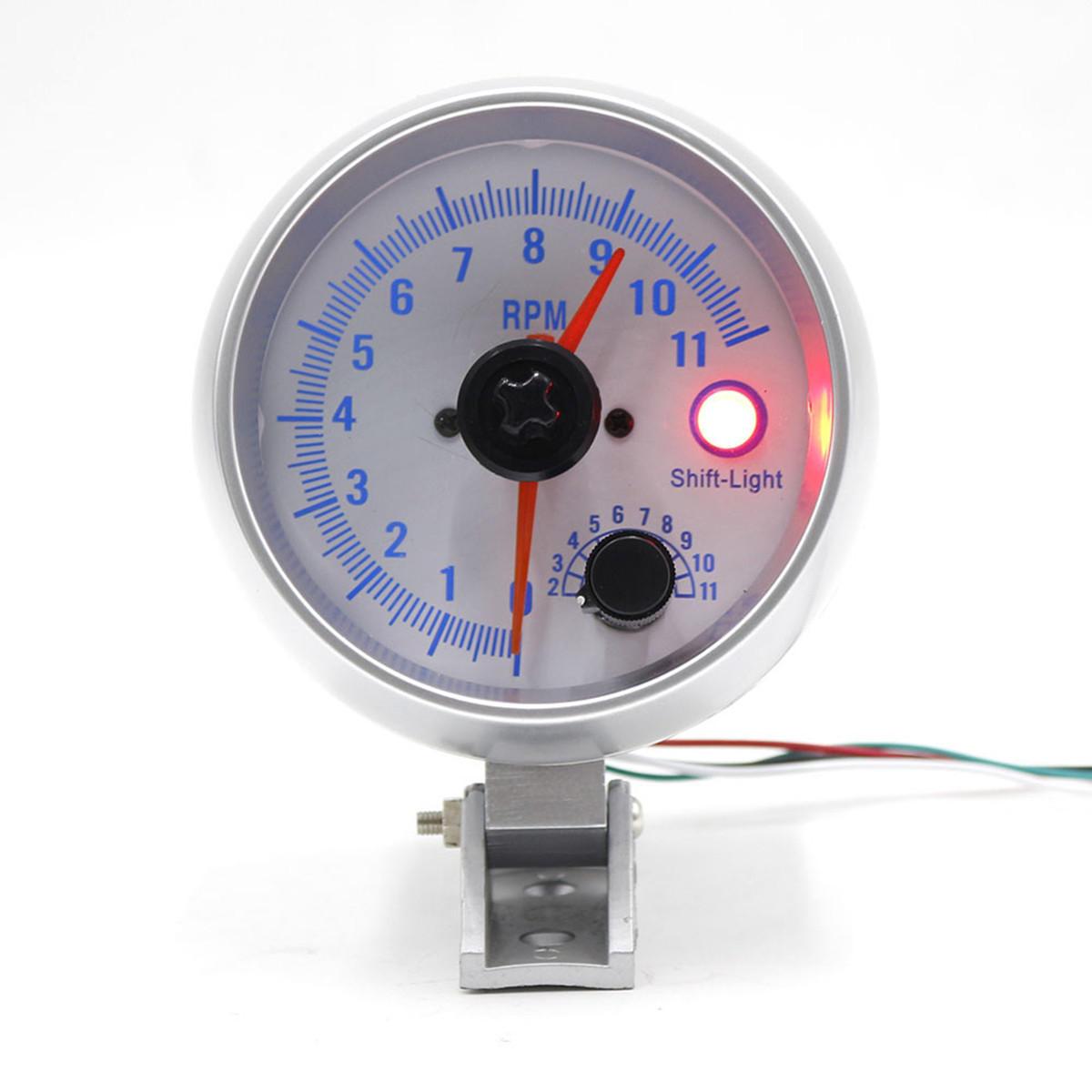 3.5 Inch Car LED Shift Warning Light Tachometer Tacho Gauge Step Motor 0-11000 RPM