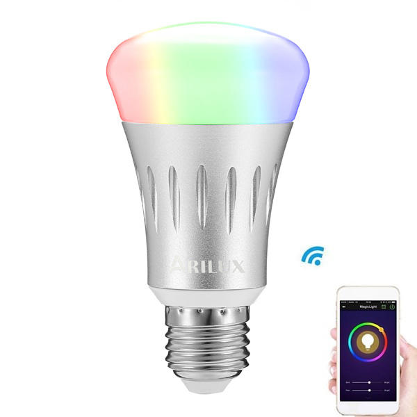 ARILUX® SL-WB 01 E27 7W RGB + White Dimmable Smart WIFI LED Light Bulb Works with Amazon Alexa Echo AC85-265V