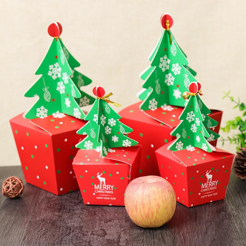 Cartolina di Natale 2017 Scatola Candy Scatola Adatta la festa di nozze Albero di Natale Modello Imballaggio dei monili Scatola