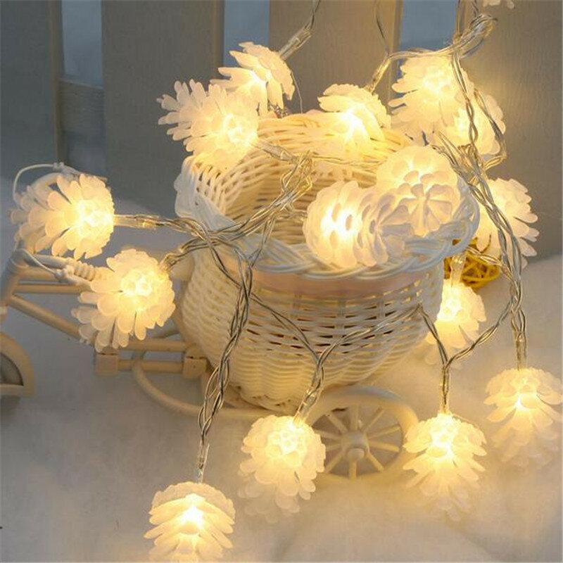 KCASA 2M 20 LED Çam Konisi Dize Işıklar LED Festival İçin Peri Işıkları Noel Cadılar Bayramı Partisi Düğün Dekorasyon Batarya Powerd