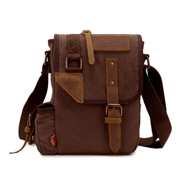25bf25bc11 Augur Men s Vintage Genuine Leather Canvas Leisure Shoulder Bag Crossbody  Bag COD