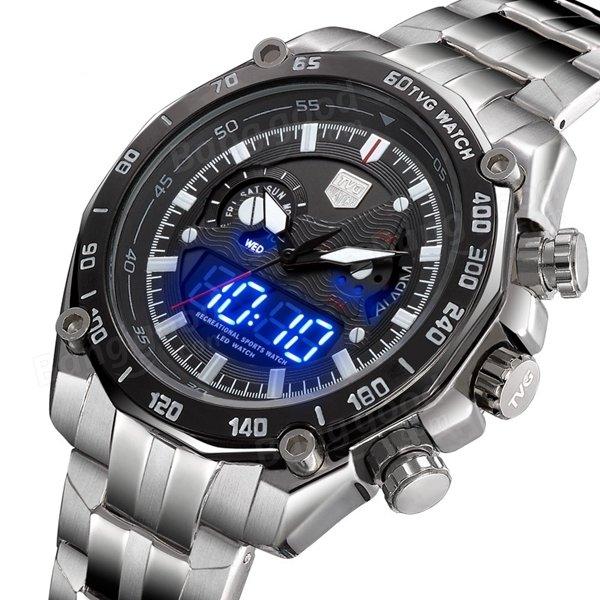 tvg 3168 stainless steel date week 24h display men wrist ...