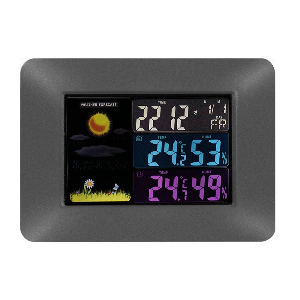 มัลติฟังก์ชั่ไร้สายดิจิตอลเทอร์โมมิเตอร์วัดอุณหภูมิที่มีสีสัน LCD พยากรณ์อากาศพยากรณ์อาก