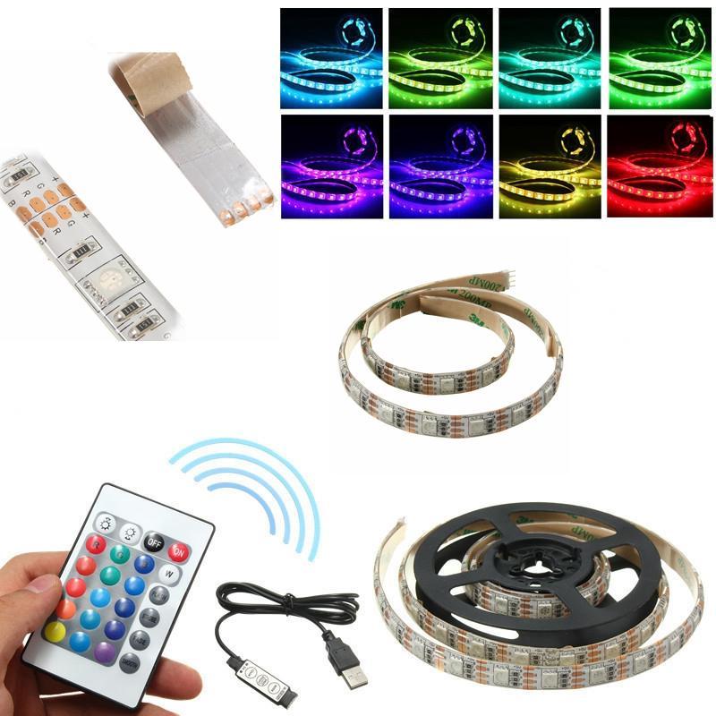 สาย USB กันน้ำ DC5V SMD5050 Tape TV พื้นหลัง RGB LED Strip Light with รีโมท Controller