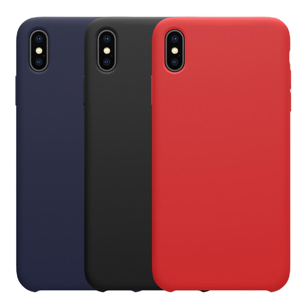 NILLKIN Soft Smooth Shockproof Liquid Silicone Rubber Back Cover Protective Case for iPhone XS