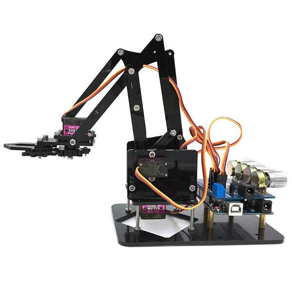 URUAV DIY 4DOF แขนหุ่นยนต์ 4 แกนอะคริลิคหมุนได้ เชิงกล แขนหุ่นยนต์พร้อม Arduino R3 4PCS Servo