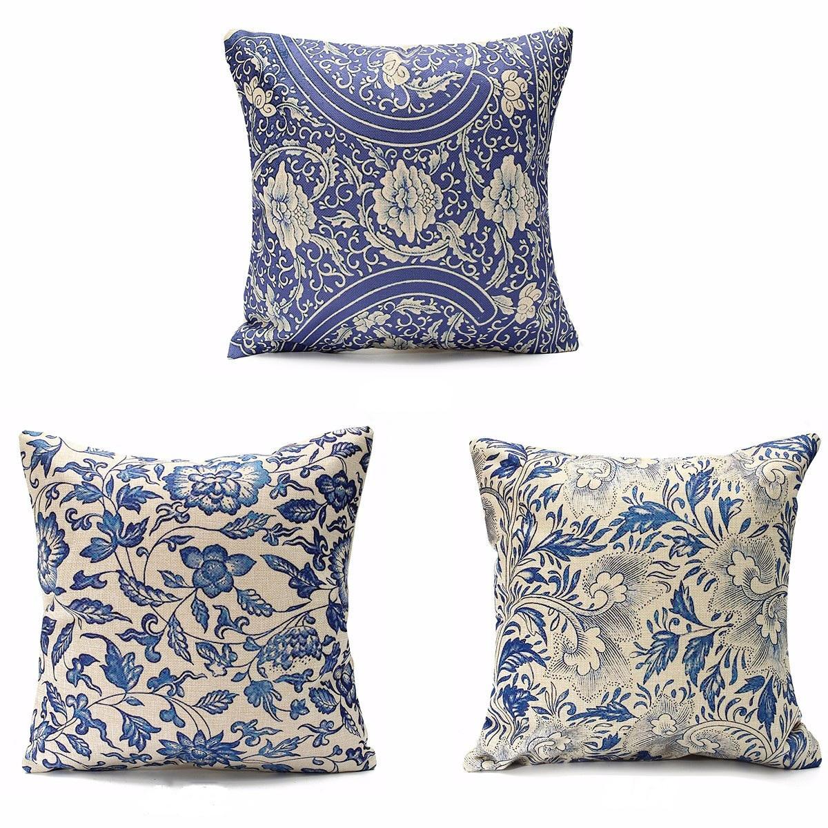 45x45cm Vintage Oriental Retro Bleu Floral Linge Taie d'oreiller Housse de Coussin Décor À La Maison