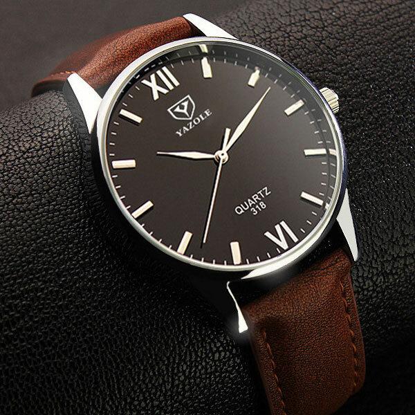6fda13f5b9d8 YAZOLE 318 Reloj de Pulsera de Cuarzo de Cuero con Pantalla Luminosa para  hombre